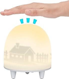 ELZO Luz Nocturna Infantil, Lámparas Habitación Bebé, Lámpara Luces LED Silicona, Resistente a Rotura, Cuidado Ojos, Brillo y Color Ajustable, Control Táctil, IP65 Impermeable, Recargable
