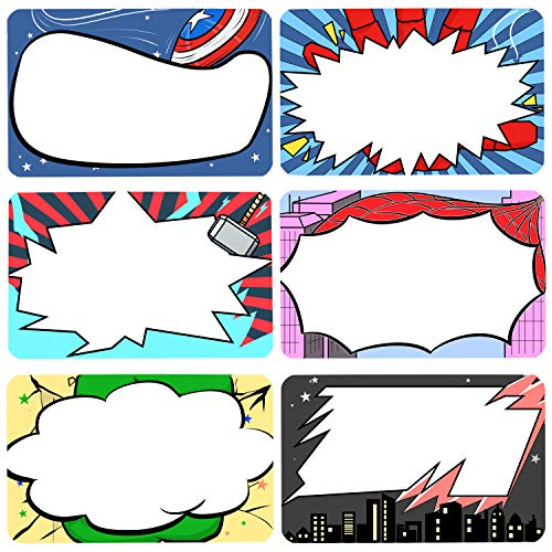 Superhero Name Tags Stickers Kids and Adult Handwriteable Labels for School Office Home, Ideal for Students or Teachers, 6 Designs 180 PCS