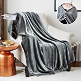 JS HOME Throw Size Wearable Fleece Blanket Throw, Super Soft and Cozy Blanket for All Season, Luxury Lightweight Plush Warm Blanket, Flannel Microfiber Blankets for Couch, Sofa, Bed, Grey, 50'x 60'