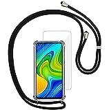 Yohii Funda con Cuerda para Xiaomi Redmi Note 9 + Protector Pantalla de Cristal Templado, Carcasa Transparente TPU Suave Silicon Colgante Ajustable Collar, Case para Xiaomi Redmi Note 9 - Negro
