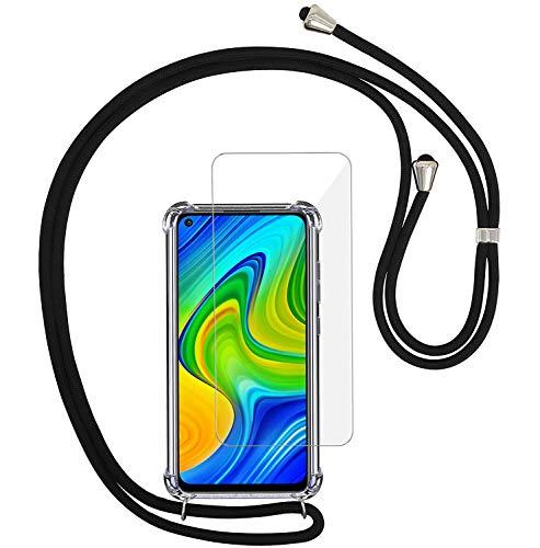 Yohii Handykette hülle für Xiaomi Redmi Note 9 + Panzerglas Schutzfolie, Transparent Silikon TPU Schutzhülle mit Kordel zum Umhängen Necklace Hülle mit Band, Hülle für Xiaomi Redmi Note 9 - Schwarz