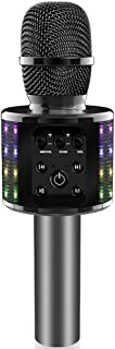 Wireless Bluetooth Karaoke Microphone Bluetooth 5.0 with Dual Sing, LED Lights, Portable Handheld Mic Speaker Machine for iPhone/Android/PC/Outdoor/Birthday/Home/Party(Gray)