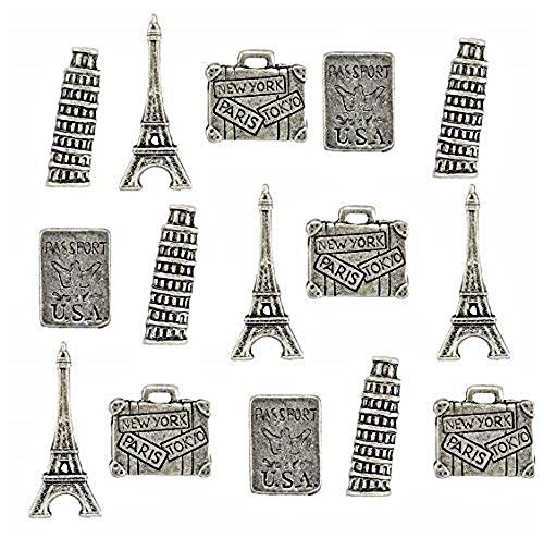 Travel Themed Metal Push Pins, Silver Finish, 4 Styles - Eiffel Tower, Leaning Tower of Pisa, Suit Case, Passport, 15 Piece Set