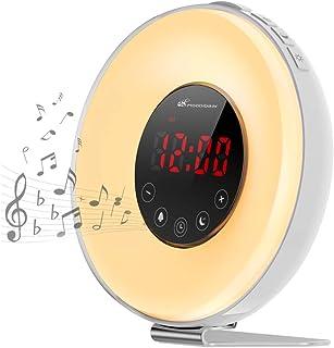 Moobibear Despertador con luz, luz diurna, 7 sonidos naturales, 6 colores automáticos, 10 niveles de intensidad, luz noctu...