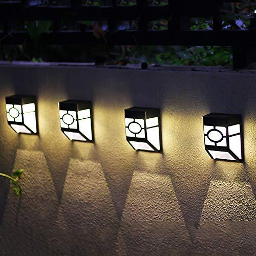 DXJNI Foco de Paisaje Solar para Exteriores, luz de Pared de Seguridad a Prueba de Agua IP65, Utilizado en el Pasillo del Porche de la Entrada del jardín del Patio, luz Decorativa inalámbrica (4 p