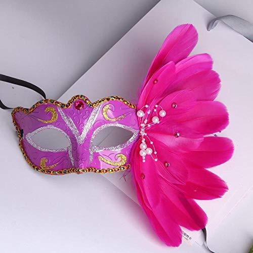 XWYWP Mscara de Halloween Venecia Masquerade Mscara en Stick Mardi Gras Disfraz Eyemask Impresin Halloween Carnaval Mano Palillo Plumas Partido Mscara Lavanda