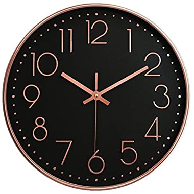 "Vonzevo 12"" Universal Silent Wall Clock Non-Ticking Mute Easy to Read Fashion Quartz Plastic Frame Glass Cover Battery Operated For Home Office School (Black & Rose Gold)"