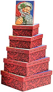 Christmas Gift Boxes 6 Piece Nesting Christmas Holiday Box Set with Santa Claus Merry Xmas - Great for Wrapping Presents or as a Decoration (Rectangle Box)