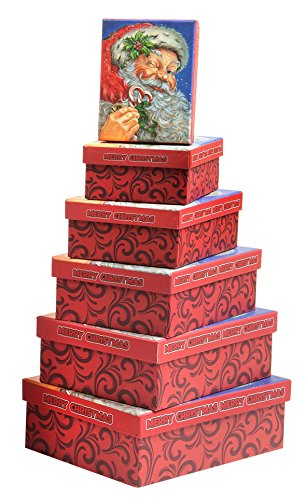 Nesting Christmas Boxes 6 Piece Nested Gift Box Set For Christmas Holiday with Santa Claus Merry Xmas - Great for Wrapping Presents or as a Decoration (Rectangle Box)