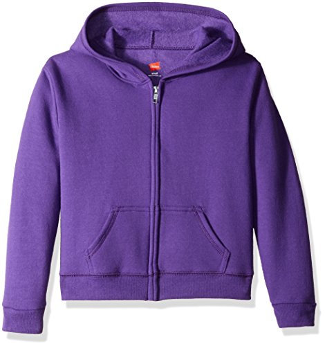 Hanes Girls' Big ComfortSoft EcoSmart Full-Zip Fleece Hoodie, Purple Thora, M
