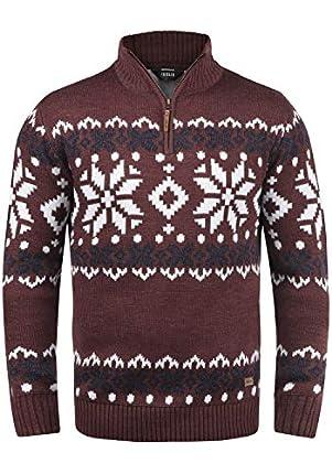 !Solid Norwin Jersey De Punto Troyer Suéter Sudadera De Punto Grueso para Hombre con Cuello Alto, tamaño:L, Color:Wine Red Melange (8985)