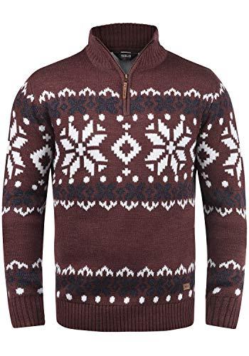 !Solid Norwin Herren Strickpullover Troyer Grobstrick Pullover mit Stehkragen, Größe:XL, Farbe:Wine Red Melange (8985)