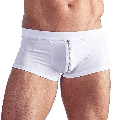 Orion Herren Pants - sexy Boxershorts mit Reißverschluss vorne, Unterwäsche für Männer, elastische Unterhose in weiß (XL)