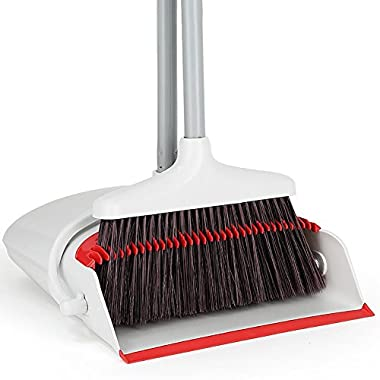 Broom and Dustpan Set, Treelen Grips Sweep Set and Lobby Broom Combo Upright Grips Sweep Set with Broom, 3 Foot Overall Height, White