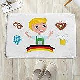 Alfombrilla de baño antideslizante, para baño o ducha,Chico bávaro alemán con cabello rubio con símbolos del Oktober, alfombra de suelo absorbente, para sala de estar, sofá, cojín, caucho, 60 x 100 cm