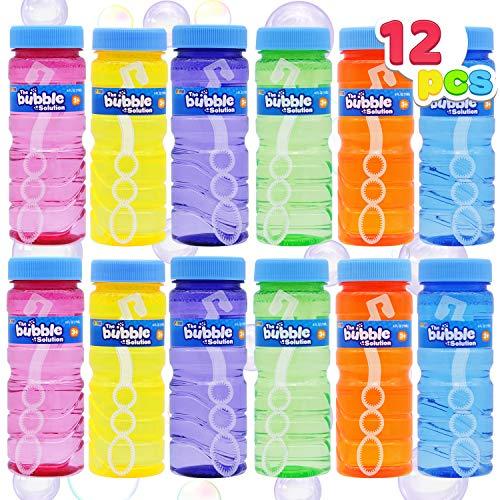 JOYIN 12 Pack Bubble Bottles (4oz Bubbles Solution), Bubbles Party Favors for Kids, Bubbles Wand Bulk, Assorted Colors Large Bubble Kit, Toddler Summer Outside Toys, Summer Gift for Kids