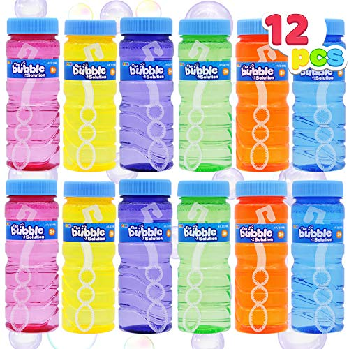 JOYIN 12 4oz Bubble Bottles with Wand Assortment for Kids, Bubble Blower for Bubble Blaster Party Favors, Summer Toy, Birthday, Outdoor & Indoor Activity, Easter