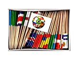 MENS WORLD CUP SOCCER TOOTHPICK FLAGS-SET of 100 Toothpick Flags, Three Toothpick Flags for Each Team Competing for the Cup Plus 4 Small Soccer Ball Flag Cupcake Toothpicks or Olympic Cocktail Picks