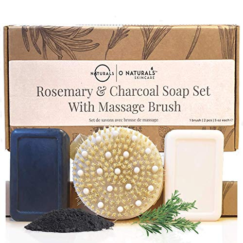 O Naturals Dry Body Brush with Activated Charcoal Soap & Peppermint Bar Soap Gift Set. At Home Spa Gift Set, Dry Brush Deep Massage Bar Soaps with Essential Oils Best Gift for Her 5 oz Each Bar