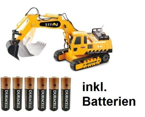 BUSDUGA RC Bagger 1:27 Kettenantrieb 4 + 2 Kanal - ferngesteuert mit Motorsound , Hupe und Licht INKL. BATTERIEN - komplett Set