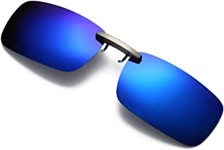 Ouniman Polarized Sunglasses Detachable Clip for Men Women, UV Blocking Mirrored Lens Protection Square Sun Glasses Night Vision Clip for Driving Fishing Cycling Sports Activity (Blue)