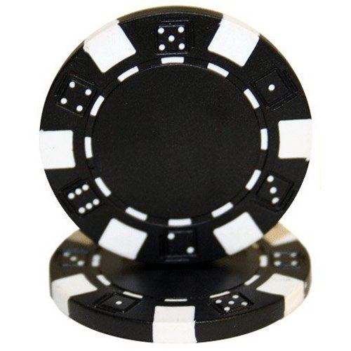 Brybelly 50 Black Clay Composite Striped Dice 11.5 Gram Poker Chips