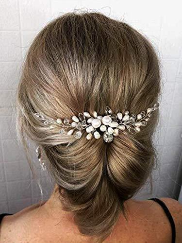 Mayelia - Cerchietto per capelli da sposa in cristallo, con perle argentate, per donne e ragazze