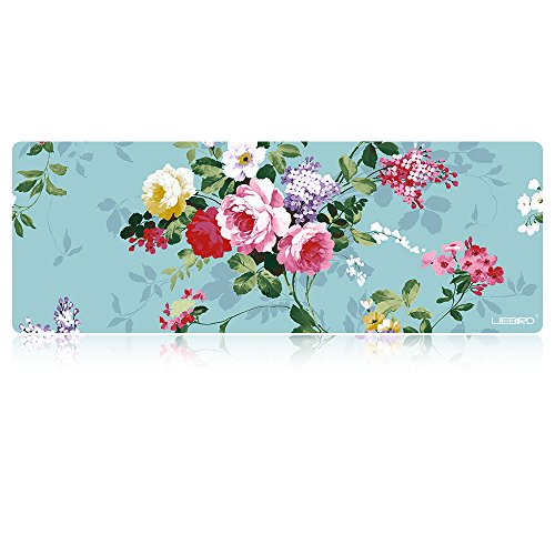 LIEBIRD Extra Large Gaming Mouse Pads/Extended Protective Office Desk Mouse Mat (Peony)