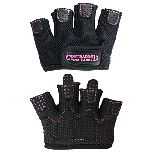 Contraband Pink Label 5537 Womens Micro Weight Lifting Gloves w/Grip-Lock Silicone Padding (Pair) - Minimalist Half Gloves - Apple Watch Friendly (Black, X-Small)