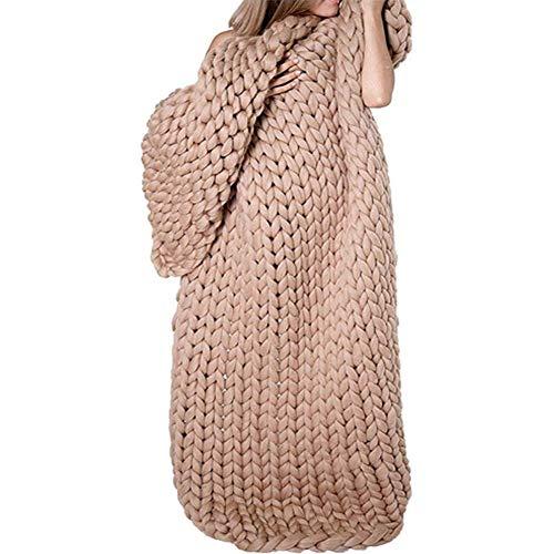 ZCXBHD Chunky Hand gestrickt Garn Decke Fashion Abdeckung Decke Bett-Wurf Super Soft-Sofa-Decke Geeignet for Schlafsofa Riesen Yarn Home Decor (Color : Khaki, Size : 120x150cm)