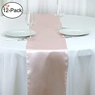 Tiger Chef 12-Pack Blush 12 x 108 inches Long Satin Table Runner for Wedding, Table Runners fit Rectange and Round Table Decorations for Birthday Parties, Banquets, Graduations, Engagements
