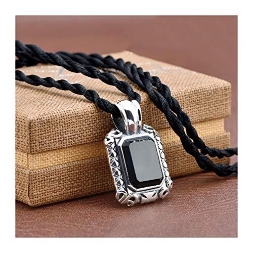 ZNZNN Collar Colgante de Piedras Preciosas Negras de Plata Pura S999, Collar Colgante de los Hombres, Regalo de cumpleaños/Regalo del día de San Valentín Regalo de Collar de Moda