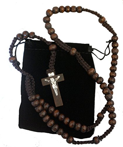 Men Women Brown Wood Corded Rosary Beads Catholic Necklace Cross & Free Velvet Gift Pouch Unisex Suitable for New Drivers Car Rosary Good Luck Confirmation Communion Christmas Lent Easter Birthdays