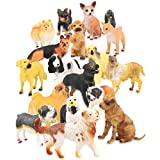 Set of 18 Large Deluxe Dog Figurines, Toy Puppy Figures Canine Bulk Animal Variety Gift Pack (4-Inches)