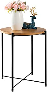 HollyHOME Small Tray Metal Wooden End Table,Small Round Coffee Table for Living Room, Anti-Rust and Waterproof Patio Snack Table, Accent Sofa Side Table,(H) 20.28