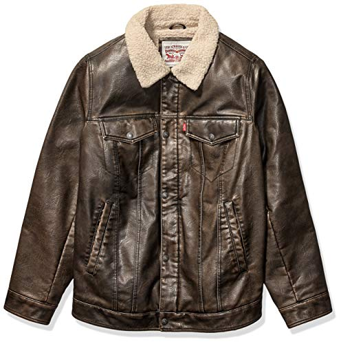 Levi's Men's Faux Leather Sherpa Lined Trucker Jacket (Regular and Big and Tall Sizes), Dark Brown, Small