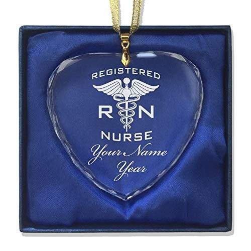 LaserGram Christmas Ornament, RN Registered Nurse, Personalized Engraving Included (Heart Shape)