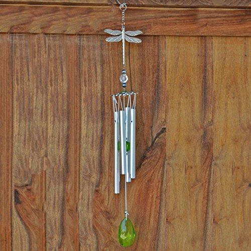 Fiesta Studios Carillon à vent en métal Motif libellule Argenté et vert 43 cm