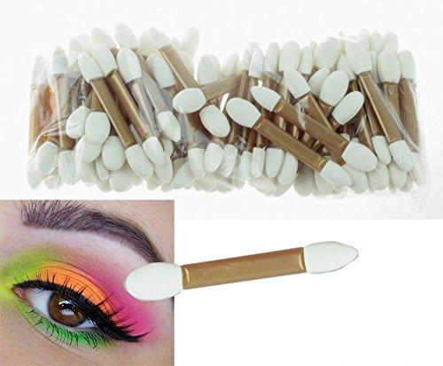 Pure Vie Lot 50 Pinceaux à Deux Extrémités Jetable Brosse Eponge pour Fard à Paupières Outils de Maquillage, 2
