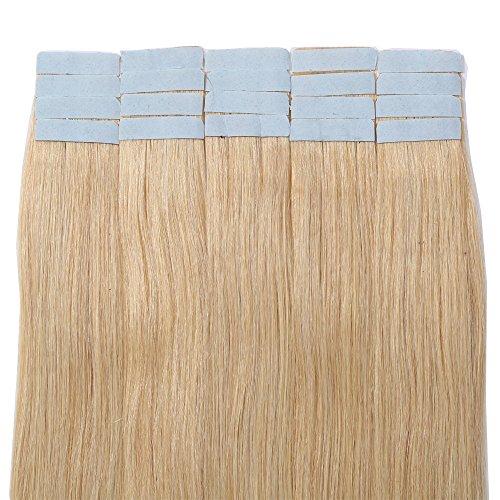 40cm Extension Capelli Veri Adesive 20 fasce con Biadesivo 50g/set Remy Human Hair Tape in Lisci Umani Riutilizzabile Seamless, 24 Biondo Naturale