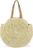 styleBREAKER Bolso de Hombro Redondo de Mimbre, Bolso de Playa con largas Asas, Bolso Trenzado, Bolso de Tipo Shopper, señora 02012232, Color:Beige
