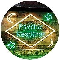 Psychic Readings Moon Star Dual Color LED看板 ネオンプレート サイン 標識 緑色 + 黄色 600 x 400mm st6s64-i3113-gy