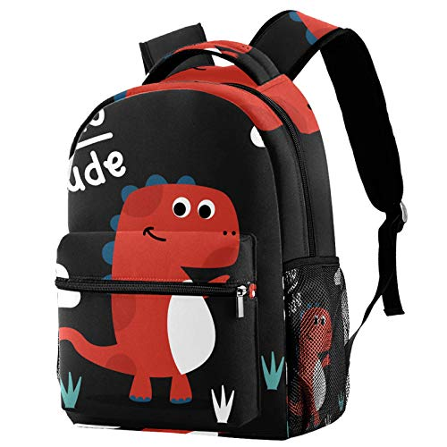 LAZEN Mochila informal Mochila de secundaria y escuela secundaria Senderismo Camping Mochila de día Dinosaurio de dibujos animados lindo Hola