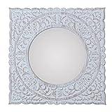 Vidal Regalos Espejo Cuadrado Decorativo Marco Fibras Madera Blanco con Flores Boho 50 cm