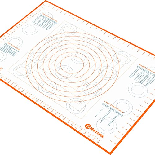 Marcorex Pastry Mat Extra Large with Measurements and Conversion Charts, Non-Stick Non-Slip, Extra-Large Silicone Fondant Mat, Cookie Rolling Dough Mat (Orange)