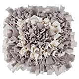 """MyfatBOSS Snuffle Mat, Feeding Mat Blanket Dog Training Mats Feeding Mat Pet Activity Mat, Interactive Dog Toys Encourages Natural Foraging Skills, Perfect for Any Breed (17.7""""X17.7"""")(Grey-White)"""