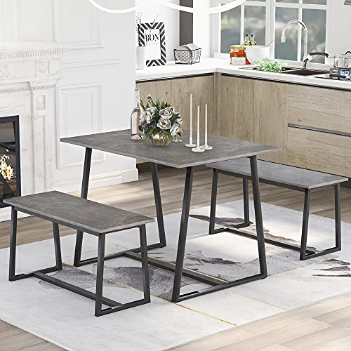 4 Seater Dining Room Set, 3 Pieces Set,1 Dining Table with 2 Benches, Wood Table + Steel Frame, Table size: 105 x 60 x 75 cm (Gray)