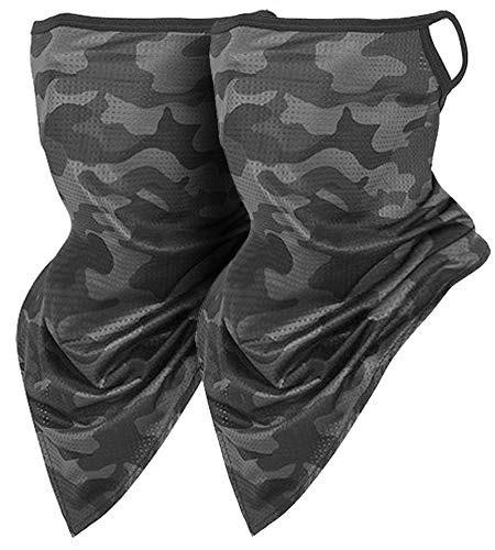 2 Pack Cooling Face Covering Mask Scarf with Earhook Ear Loops, Camoflage Prints Outdoor Sports Neck Gaiter, Sun UV Wind Protection