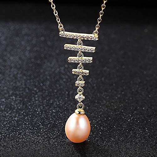 THTHT Merk Boheemse stijl 3 kleuren natuurlijke zoetwaterparels lange hanger ketting 45 cm voor vrouwen Pasen dag cadeau roze