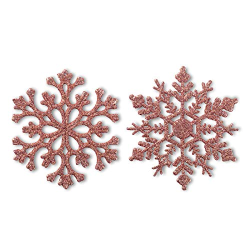 Glitter Snowflake Ornaments Plastic Christmas Tree Decorations 4.7''/30CT Christmas Hanging Decorations with Silver Rope for Wedding Birthday Home Xmas Tree Window Door Accessories(Rose Gold)